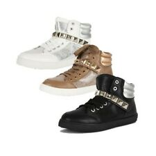 Hi-top Trainers with metallic sections and studded strap