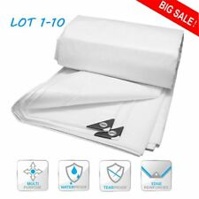 White Heavy Duty Tarp Reinforced Tarpaulin Canopy Tent Shelter Cover Car Boat WX