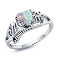 Elegant Heart White Opal 925 Silver Women Jewelry Wedding Engagement Ring Sz6-10