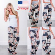 Womens Floral Loose Casual Long Pants Party Yoga Drawstring Holiday Trousers