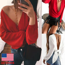 Womens Long Sleeve V Neck Party Blouse Backless Wrap Bandage Cocktail Club Tops