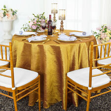 "Wedding Linens Inc. 120"" Taffeta Crinkle Crushed Round Tablecloths Table Covers"