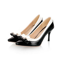 8cm heels Womens patent leather shoes woman bow pumps slip on stiletto shoes