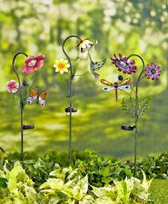 Solar Powered Flower Garden Stakes Patio Stained Glass Light Yard Lawn Decor New