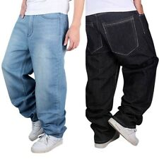 Hip-Hop Mens Loose Jeans Pants Baggy Denim Streetwear Trousers Casual Fashion