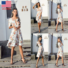 Womens Floral Deep V Neck 3/4 Sleeve Party Dress Boho Lace Up Cocktail Sundress