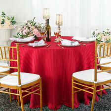 "Wedding Linens Inc. 90"" Round Striped Damask Polyester Tablecloths Table Covers"