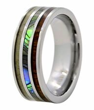 8mm Wedding Rings Tungsten with Koa Wood and Abalone Inlay Bands