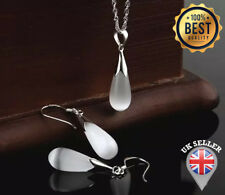925 Sterling Silver Crystal Necklace Jewelry Set chain big Water Drop Opal