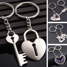 Couple Lovers Heart Key Chain Ring Casual Trinket Jewelry Wedding Gift Flowery