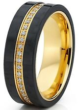 Titanium Men's Eternity 7mm Wedding Band Ring with Cubic Zirconia CZ and Carbon