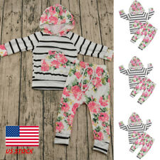Kids Child Baby Girls Winter Clothes Sets Outfits Suit Floral Hoodie +Trousers