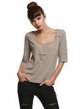 Women Fashion Casual Henley Neck Short Sleeve Solid Basic T-Shirt Top FPAW