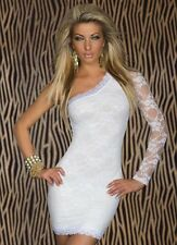 Sexy White Lace Clubwear One Shoulder Cocktail Disco Party Mini Dress M L XL XXL
