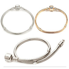 Silver Gold Plated European Charms Beads Bracelet Snake Chain Clasp Accessories