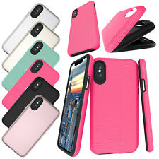 Anti-Shock Hybrid Plastic + Rubber Hard Armor Back Cover Case For iPhone X 10