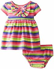 Bonnie Jean Baby Girls Stripe Knit Dress and Panty Set Pink Newborn Size 0-3 6-9