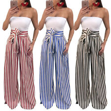 Sexy Women Striped Long Trousers OL Casual Bow-knot Harem Wide Leg Comfy Pants