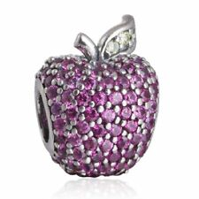 Solid sterling silver pave apple charm bead with fancy red & light green cz