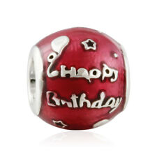 Solid Sterling Silver Birthday Celebration Transparent Cerise Enamel charm