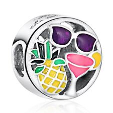 Solid Sterling Silver Fun Charms Mixed Enamel Happy European charm Bead