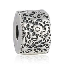 Solid Sterling Silver Hollow Flower Charm Bead Fixed Clip Beads Stopper Charm