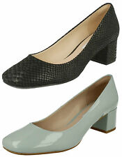 CLARKS LADIES CHINABERRY GEM SLIP ON SNAKE PRINT SMART HEELED PATENT COURT SHOES