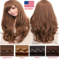 Fashion Women Cosplay Natural Long Wavy Curly Wigs With Bangs Cosplay Party Wig