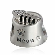 Solid Sterling Silver Fish Bone Meow Beads With CZ Animal Paw Prints Charm Bead
