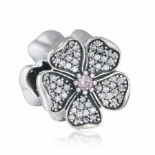 Solid sterling silver Charms bead AAA CZ Pave Blossom Charm beads Flower