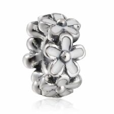 Solid Sterling Silver Darling Daisies Spacer Charm Fit Original Bracelet Jewelry