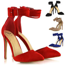 Womens Stiletto High Heel Pointed Pumps Ladies Belted Ankle Strap Court Shoes