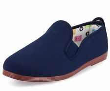 FLOSSY STYLE SLIP ON SHOE SHOES ORIGINAL NAVY BLUE CANVAS PLIMSOLL FLOSSYS
