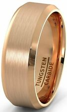 Rose Gold Tungsten Carbide 8mm Ring with Brushed Beveled Edges Mens Wedding Band