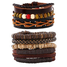 3-4 PCS Braided Leather Bracelets for Men Women Rope Cuff Wrap Wristbands