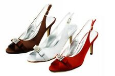 Ladies Satin open toe sling back high heel party shoes with diamante detail