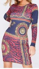 Womens Ladies Long Sleeved Soft stretch Tribal Short Mini Party Bodycon Dress