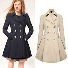Womens Double Breasted Trench Dress Coat Ladies Lapel Jacket Fit & Flare Outwear