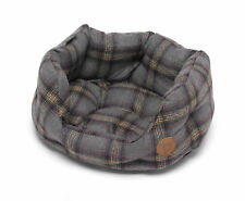 Petface Grey Tweed Check Oval Dog Bed Sherpa Fleece Cushion Washable Pet Basket
