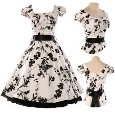1950s RETRO Floral Vintage Cap sleeve Swing Housewife pin up A-line Tea Dresses