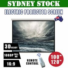 """100"""" 120"""" Inch Projector Screen Portable Electric Motorised TV Projection 3D BG"""