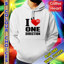 ONE DIRECTION HOODIE - I LUV ONE DIRECTION -RED GLITTER HEART, JUNIOR/ADULT SIZE