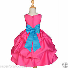 FUCHSIA PINK FLOWER GIRL DRESS PAGEANT BRIDESMAID PICK UP TODDLER 12m 2 4 6 8 10
