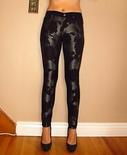 $265 Seven 7 For All Mankind Black Floral Grey Shantung Skinny Pants Jeans 25