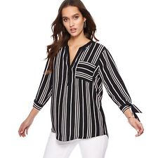 The Collection Womens Black Striped Pocket Tie Sleeve Shirt From Debenhams Size