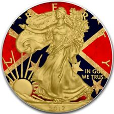2017 1 Oz Silver $1 CONFEDERATE FLAG EAGLE Coin WITH 24K Gold Gilded.