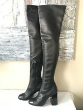 CHANEL Stretch Leather French Cuff Thigh High Over Knee Boots Heels Black $2650