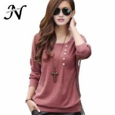 Women Casual Loose Autumn Tops And Blouses O Neck Long Batwing Sleeve