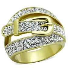 Belt Buckle Ring with Crystals Two Tone Gold and Silver Stainless Steel