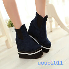 stylish womens ladies wedge hidden high heel ankle boots shoes platform size4-12